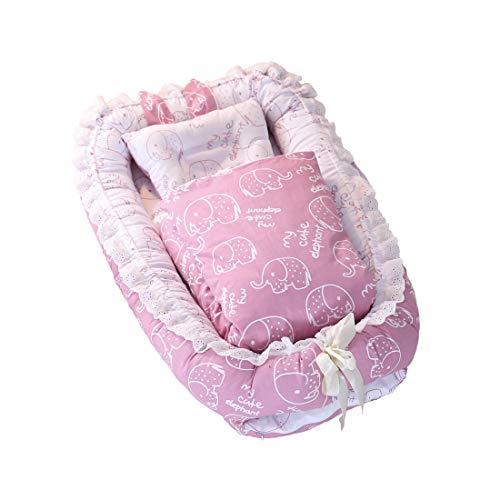 DorkasDE Babynest Kuschelnest Matratze im Bett Faltbett tragbar Babybett Reisebett mit Steppdecke