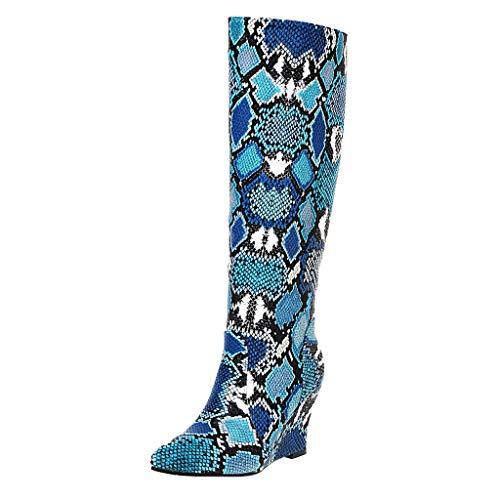 Stiefel Damen Keilabsatz Langschaft Hohe Stiefel Schlange Muster PU Schuhe Spitzschuhe Slip On Long Boots Damenschuhe (35.5 EU, Blau)