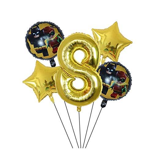 YSJSPOL Balloon 5pcs Super Man Batman Foil Balloons gold 30inch Number balloon kids 1 2 3 4 5 Year Old Birthday Decor Party (Color : 8)