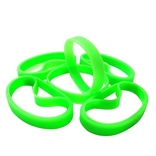 LVNRIDS Pulseras de silicona 100 pcs, pulsera elástica de goma para fiestas deportivas por Hombre mujer Verde claro