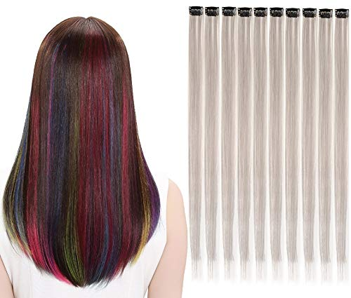 LiaSun 10Pcs/set Multi-Colors Straight Highlight Clip in Hair Extensions 20 Inch Colored Party Hair Pieces (Gray)
