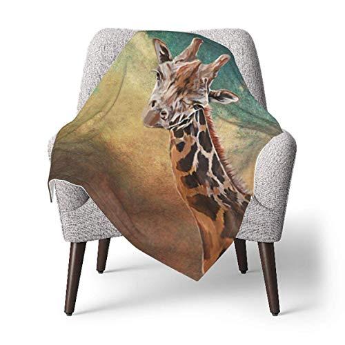 Hdadwy Dibujo retrato de una jirafa, retrato sobre fondo de papel grunge de color vintage antiguo, manta de franela o manta mullida para bebé, manta cálida súper suave para bebé o recién nacido, manta