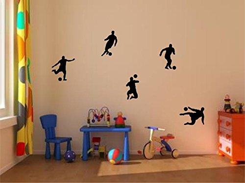 Stickerkoenig Kinderzimmer Wandtattoo XXL Fußballer & Fußbälle 5er Set Soccer Größe 2 FARBE: Schwarz