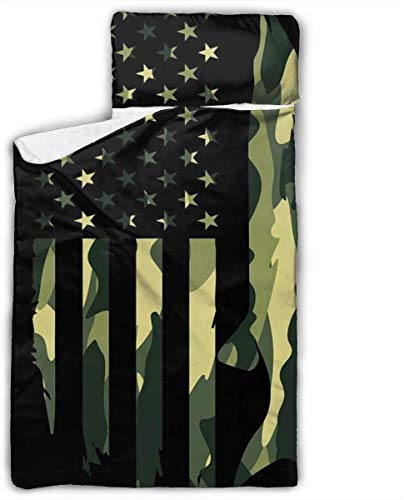 Northern Pike Fishing Fisher Camo American Flag Kids Toddler Nap Mat with Pillow - Includes Pillow & Fleece Blanket for Boys and Girls Napping at Daycare, Preschool, Or Kindergarten