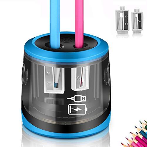Sacapuntas eléctrico, USB y batería de alimentación, ARPDJK 2 agujeros, resistente y automático, con gran contenedor para niños, artista, aula en casa y oficina