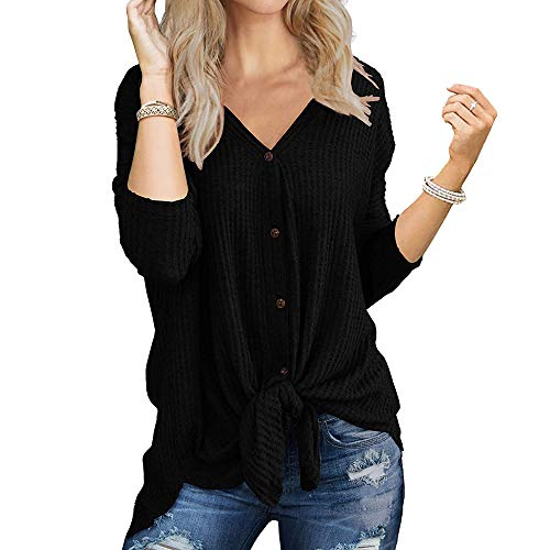 Mujer Tejer Cárdigan Cuello V Waffle Mangas Larga con Botón Punto de Nudo Corbata Blusa Camisetas Tops (S, 1_ Negro)
