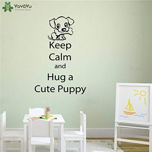 Muurtattoo hond citaat blijf kalm en knuffel een schattige puppy vinyl sticker modern verwijderbaar behang huisdier S68x104cm