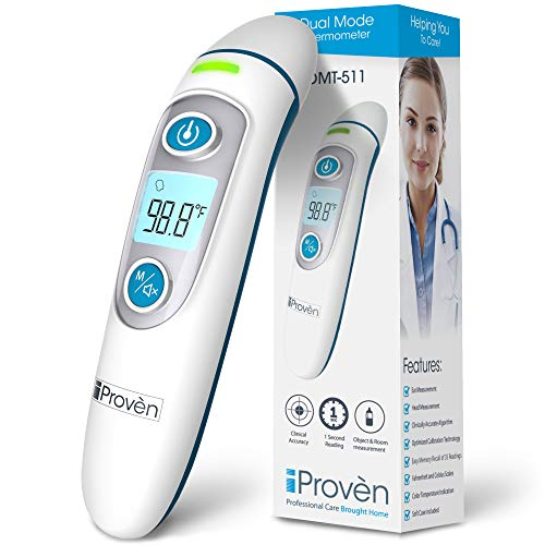 Ear and Forehead Baby Thermometer for Fever - Fast Reading 1 Second - Digital Medical Thermometer with Fever Indication - Approved for Baby, Kids and Adult - DMT-511 by iProven