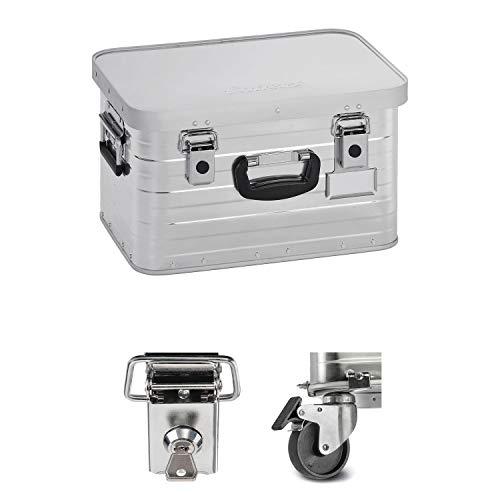 Enders Alubox 29 Liter + Schloss Set + Rollen-Set, hochwertig verarbeitet mit Moosgummidichtung, Alukiste verwendbar als Transportbox, Lagerbox - Alukoffer Lagerkisten Metallkiste Metallbox Aluboxen