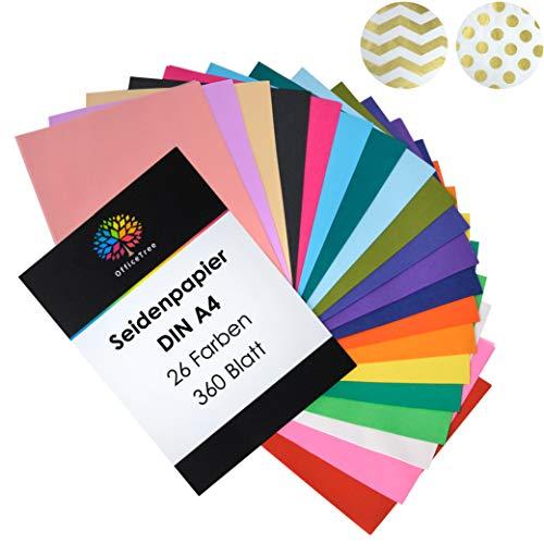 OfficeTree® Papel de Seda 360 Hojas A4-26 Colores - más diversión en Sus Manualidades, diseños y Decoraciones - Papel para Esbozo y para Recortar - 16 g/m