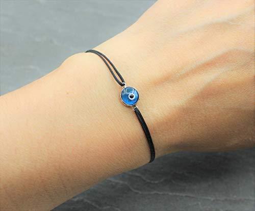 Armband 925 Sterling Silber Glas Blaues Auge Evil Eye Nazar Glück Schutz Handmade Schmuck Schwarz Textilband Makramee