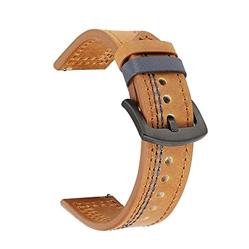 Correas de Reloj Correa de Cuero de 18mm 20mm 22mm 24mm Ver Banda Hombres Mujeres, Amarillo Marron, 18mm