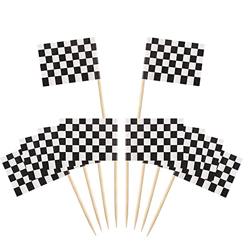 100 Packung Checkered Racing Flagge Party Cupcake Picks Zahnstocher Flagge Abendessen Flaggen Kuchen Topper Dekorationen
