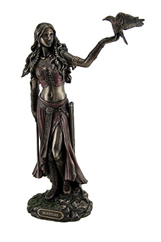 Resin Statues Morrigan The Celtic Goddess of Battle W/Crow & Sword Bronze Finish Statue 6.5 X 10.25 X 3 Inches Bronze