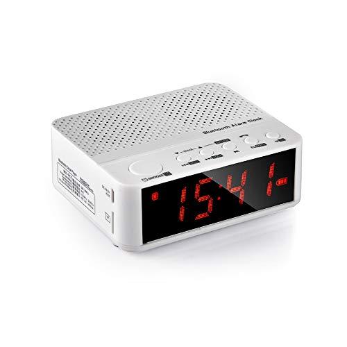 ZSTY Bluetooth-luidspreker, draadloos, muziek, MP3, met AUX-wekker, FM-radio, LED, ondersteunt MP3/WMA/APE-weergave, Wit