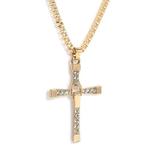 Halskette im Fast and Furious Dominic Toretto Vin Diesel Style   Kreuz Strass Kette Anhänger Strass Herren   Gold Silber (Gold)