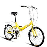 YUCHEN- Bicicletas Bicicletas plegables de 20 pulgadas hombres y mujeres for mujer estudiante adolescente al aire libre Bicicleta for niños Pedal de niños (Color: Amarillo, Tamaño: 20 pulgadas)