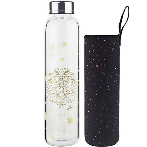 DEARRAY Botella de vidrio borosilicato con estampado de 12 constelaciones 500ml / 1000ml / 1 Litro, Botella de Agua de Cristal con Funda de Neopreno y Elegante Tapa de Acero Inoxidable(Leo,1000ml)