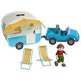 HABA 304740 - Little Friends – Spielset Urlaubsreise, mit Gelände- und Wohnwagen, Liegestühlen...