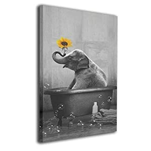 CONLIN Canvas Print Wall Art Elephant Sunflower Decorative Paintings Modern Home Wall Decor for Bedroom Living Room Bathroom Framed Ready to Hang 12x16 Inches