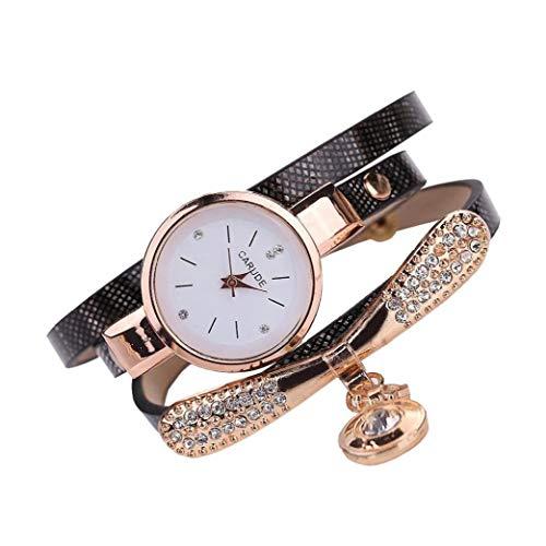 Damenmode runde Armbanduhr Analog Quarz-Uhr mit ultradünnen Metall Armband-Korn-Anhänger Uhren mit Strass Brown (mit Knopfzelle) Schmuck-Set
