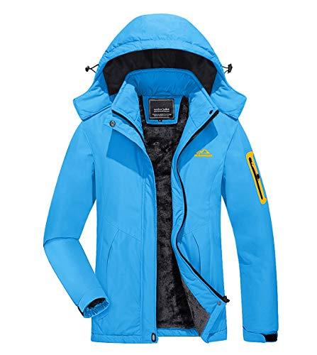 KEFITEVD Wanderjacke Damen Warm Outdoor Winterjacke Fleece Gefüttert Jacke Damen Übergangsjacke Wasserdicht Skijacke mit Kapuze Schneejacke Hellblau 2XL