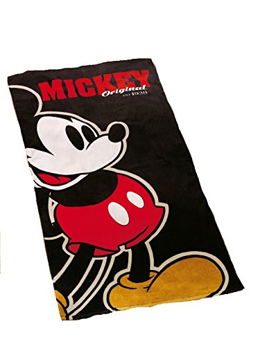 Global Labels Strandtuch Mickey Mouse Badetuch Duschtuch 75x150cm Comic schwarz Disney
