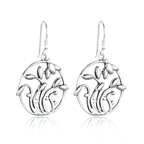 Chuvora Silver Alloy Celtic Filigree Dangle Earrings