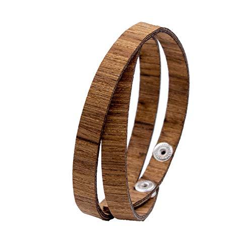 LAiMER Holzarmband - Damen & Herren Wickel-Armband aus Feinem Holz - Größenverstellbar 55-65 mm Durchmesser aus Zebranoholz