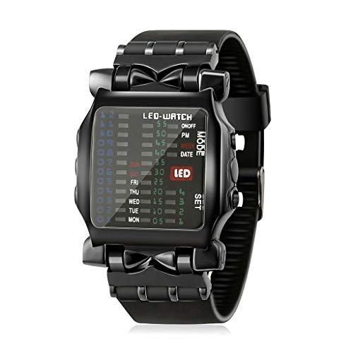 Posional Mujeres Relojes Pulsera, Cuadrado de Lujo Fresco LED de Colores Digital Reloj Binario de Pulsera Negro Alta Definición Elegante Ultrafino Impermeable Cronómetros Wristwatches