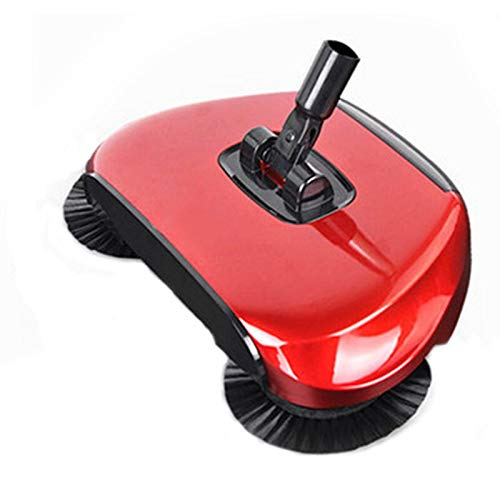 MZ 360-Grad-Handbuch Rotary Fegen Mop Multifunktions mechanische Kehrmaschine Hand Push-Reinigung Besen Staubfänger (Color : Red)
