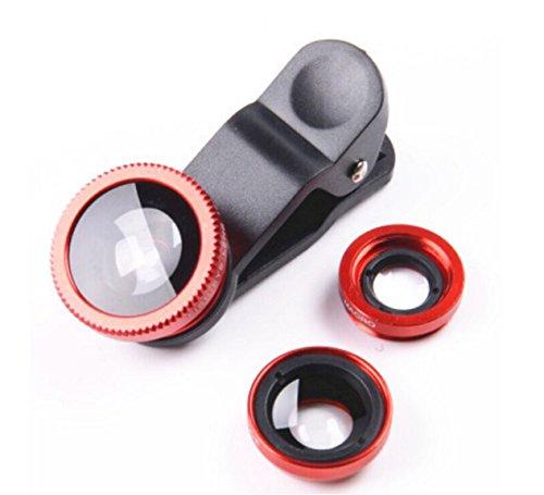 3-in-1 Handy Objektiv Set, Clip-On Kamera-Adapter für Smartphones - Fischaugenobjektiv (180° Fisheye Linse), Weitwinkel (0,65x Wide), Makroobjektiv (10x) - für alle Handys geeignet (Rot)