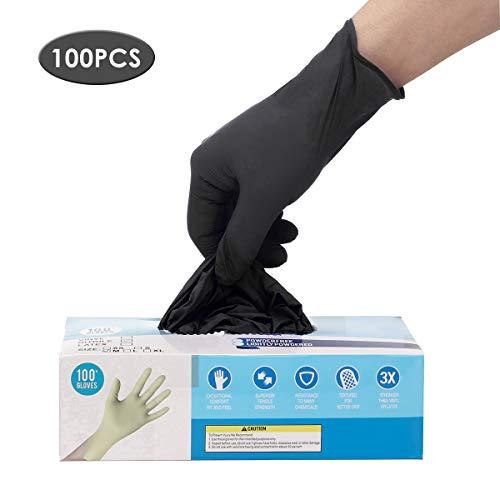 Einweghandschuhe Schwarz 100 Stück, Hizek Nitrilhandschuhe Pulverfreie, Einweghandschuhe für hohe Beanspruchung, Größe: M