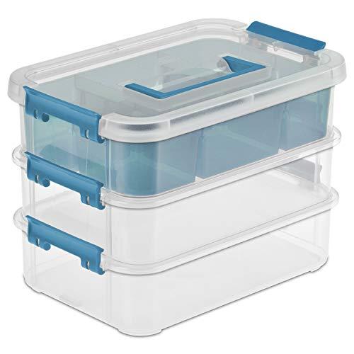 Sterilite 14138606 10-5/8' L X 7-1/4' X 7-5/8' 3 Layer Stack & Carry Box (4 pack)