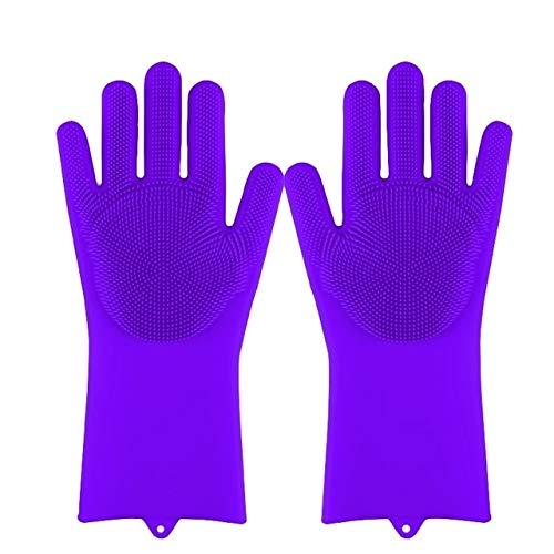 Guantes mágicos de Silicona para Lavar Platos, Estropajo, Esponja para Lavar Platos, Guantes de Goma para Fregar, Herramientas de Limpieza de Cocina, 1 par Suave-Purple