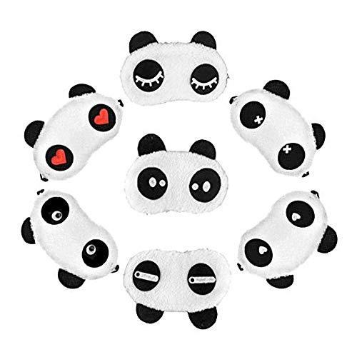Winterworm Set van 7 Leuke Panda Oog Masker Zachte pluizige Slaap Schaduw Cover Rust Oogluid Schild Reizen Slapen Hulp Nieuwigheid Slaap voor Slapen Party