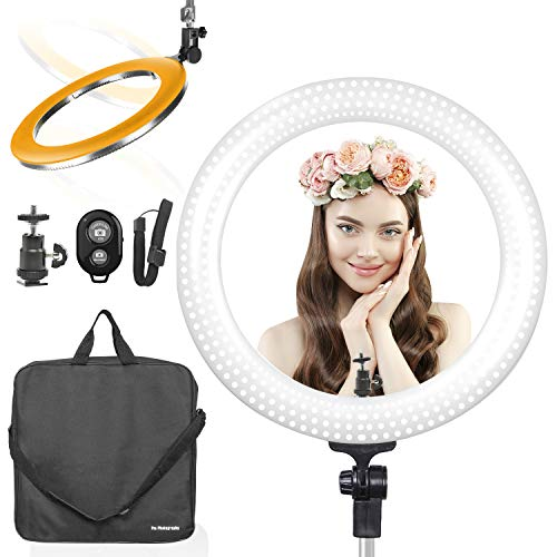 LimoStudio 18 Inch LED Multi Color Temperature Ring Light for Video & Photography, Brightness Control Dimmer Switch, AGG2394