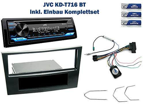 NIQ Autoradio Einbauset geeignet für Opel Antara | Astra | Corsa | Zafira inkl. JVC KD-T716BT & Lenkrad Fernbedienung Adapter in Stealth-Black