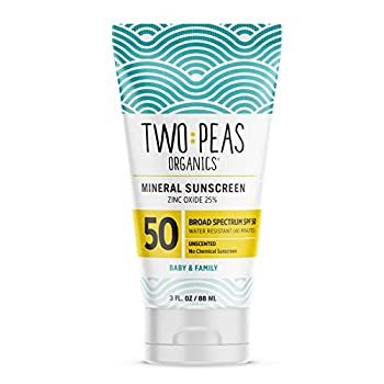Two Peas Organics - All Natural Organic SPF 50 Sunscreen Lotion - Coral Reef Safe - Baby Kid & Family Friendly - Chemical Free Mineral Based Formula - Waterproof & Unscented – 3oz