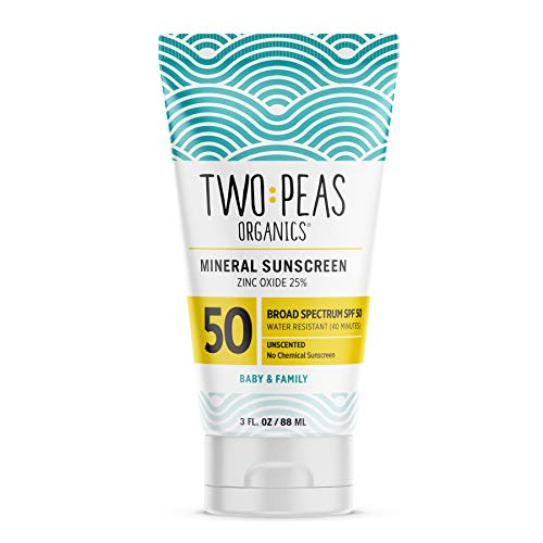 Two Peas Organics - All Natural Organic SPF 50 Sunscreen Lotion - Coral Reef Safe - Baby, Kid & Family Friendly - Chemical Free Mineral Based Formula - Waterproof & Unscented – 3oz