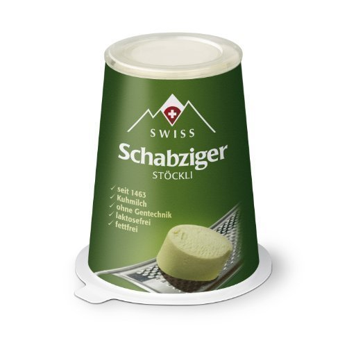 Swiss Schabziger Stöckli fettarmer Käse Schweizer Reibekäse 100g KÜHLVERSAND