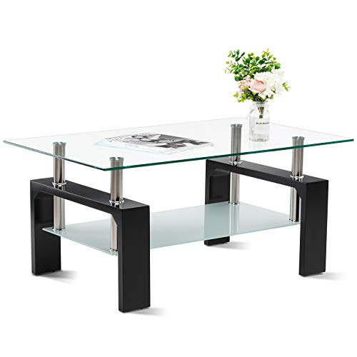 Smile Back Glass Coffee Table Rectangle Glass Coffee Table Center Tables for Living Room White Coffee Table Modern Side Coffee Table with Lower Shelf Wood Legs Suit for Living Room … (Black)