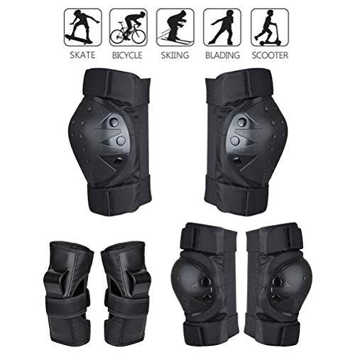 StyleBest - Juego de 6 rodilleras protectoras con rodilleras, coderas y muñequeras para niños y adolescentes adultos para patinar,color negro 1, tamaño Small
