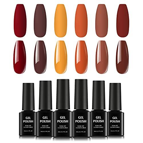 TOMICCA Set de Esmalte de Uñas Semi-Permanente, Esmalte de Gel Rojo Arce 6 Colores de Otoño, Set de Diseño de Uñas.