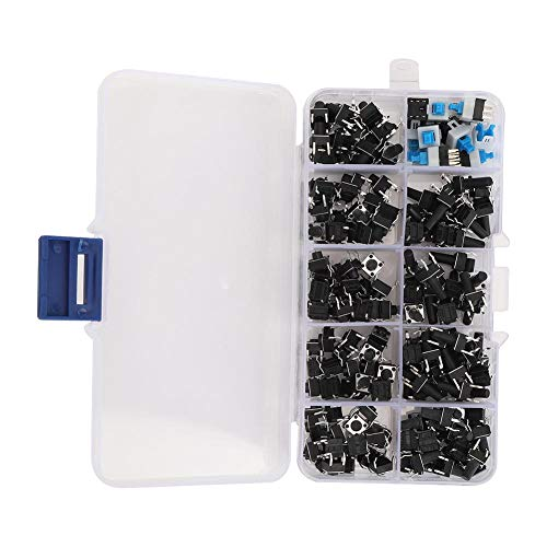 180pcs Push Button Switch, 10 Modelle Tactile Push Button Kit Gute Kontaktleistung mit Aufbewahrungsbox