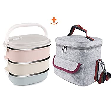 3Layers Lunch Box & Insulated Lunch Bags Set,Leakproof  metal lunch boxes adult , Portable A Office Snack Food lunch containers stackable stainless steel for Girl Gray