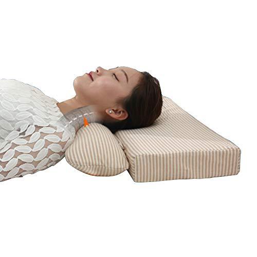 Tcare Almohada de Apoyo Cervical Inflable para Cuello de Salud, Almohada de Columna Vertebral Adulto con Almohada Cervical Especial de Tracción para Dormir, café