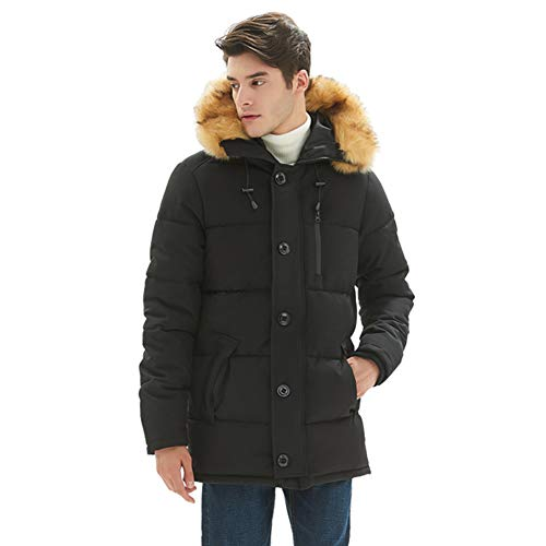 PUREMSX Men's Plus Size Quilted Parka Jacket Casual Heavyweight Warm Arctic Cloth Quilted Anorak Coat with Faux Fur-Trimmed Hood for Winter Puffer Jacket Winter Coats,Black,XX-Large