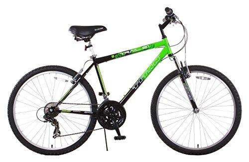 Titan Trail 21-speed Suspension Men's Mountain Bike, 18-Inch Frame, Green and Black