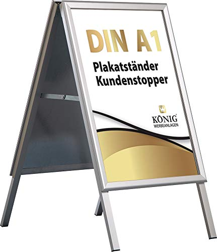 Plakatständer Alu - Line DIN A1 Luxus beidseitig (für 2 Plakate) - Kundenstopper Gehwegaufsteller Werbetafel wetterfest
